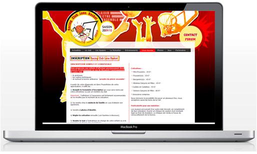 graphisme et webdesign du site internet lens basket